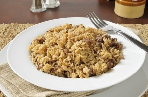 Hamburger and rice stroganoff