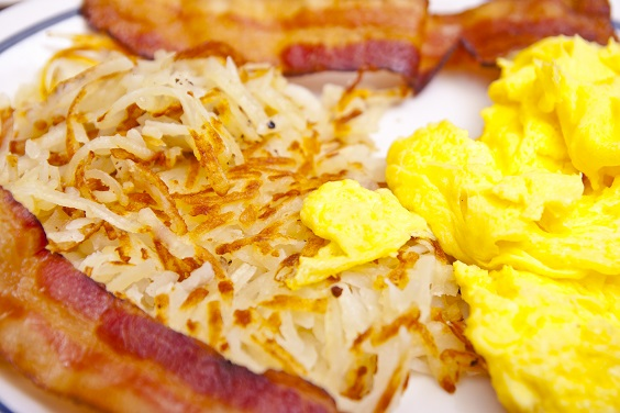 umami brunch with scrambled eggs and bacon